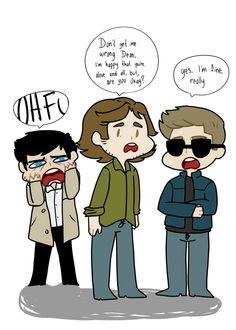 """(gif) """"But you're wearing sunglasses inside the bunker."""" """"My eyes are kinda funky right now, that sometimes happen when you're back from death.""""     Castiel, Sam, and Demon!Dean     Supernatural Fan Art by depraved-o on Tumblr"""