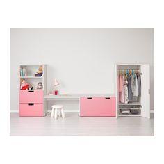 STUVA Storage combination with bench - white/pink - IKEA