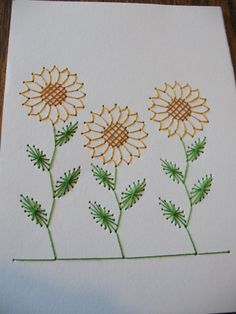 Sttiched Sunflower Card by JLG1287 on Etsy, $3.50