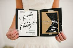 Elegant Wedding #Invitations by Leah Alduos | More #inspiration on SMP - http://www.StyleMePretty.com/utah-weddings/salt-lake-city/2014/01/10/golden-glamor-wedding-inspiration/ Jessie Alexis Photography