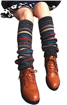 Women Lady Fashion Knee High Leg Socks Winter Bohemian Knit Crochet Warmer Legging
