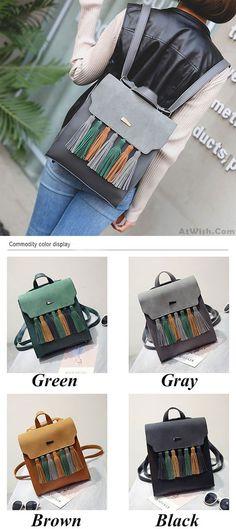 Simple British Style Tassel Contrast Color Flap PU Solid College Backpack for big sale! #tassel #backpack #Bag #school