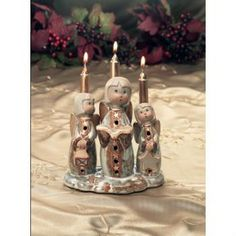 $ 5 LOT of 6 Holiday Christmas Three Angels Figures with 3 Gold colored Candles NIB