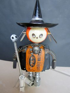 Witch Bot - found object robot sculpture assemblage.  via Etsy.