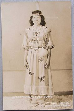 OTTAWA INDIAN PRINCESS Vintage RPPC Photo POSTCARD Harbor Springs Michigan