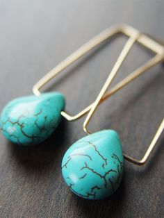 Moroccan Rectangular Turquoise Gold Earrings - $56.00