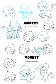 """These are monkey character design for a mobile game """"Catch the Monkey""""… Monkey Drawing, Monkey Art, Cute Monkey, Monkey Dance, Monkey Illustration, Graphic Illustration, Cartoon Drawing Tutorial, Cartoon Drawings, Animal Sketches"""