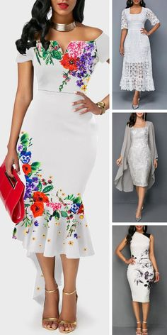 Off the Shoulder Flower Print Ruffle Hem White Dress - Apartment Balcony Decorating mexican dresses African Fashion Dresses, African Dress, Dress Skirt, Dress Up, Dress Outfits, Fashion Outfits, Cute Outfits, White Dresses For Women, Mexican Dresses