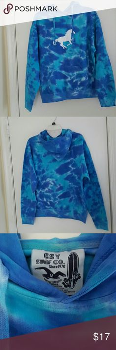 Hooded sweatshirt Blue tie-dyed hooded sweatshirt. Long sleeved. Front pouch pocket. Esy Surf Co. Tops