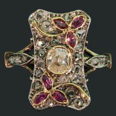 Antique Floral Ring Victorian Rose Cut Diamonds Ruby