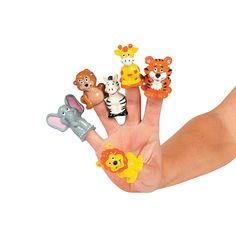 Jungle Animal Finger Puppets make good pinata or goody bag fillers. $7.25 for 24 at OrientalTrading.com