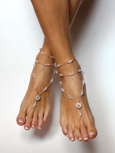 These beautiful champagne beaded barefoot sandals loot stunning on your feet. Handcrafted with light champagne seed beads, tiny white pearls,