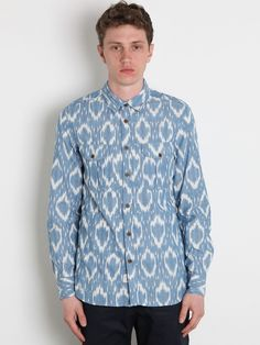 ...Woolrich Men's Ikat Military Shirt.  Reminds me of the ikat print shirts Nat just brought back from India.