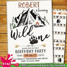 Wild One Birthday bear rustic invitation, mountain wild one invitation, camping summer party invitation, bear mountain outdoor nature party