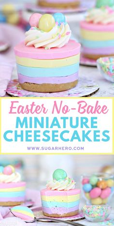 Looking for an easy Easter dessert? These Easter No-Bake Mini Cheesecakes are perfect! They're cute pastel striped cheesecakes that are simple to make, no baking required! Dessert Easter No-Bake Mini Cheesecakes Easy Easter Desserts, Easter Treats, Easter Recipes, Holiday Desserts, Just Desserts, Holiday Recipes, Delicious Desserts, Easter Food, Easter Baking Ideas