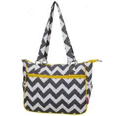 Gray Chevron Hobo Handbag with Yellow Trim.  by FussyCutEmbroidery, $38.95