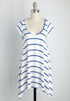 Laid-Back and Loving It Tunic in White. If you embrace the easygoing with open arms, then this striped top will be the most cherished piece in your wardrobe! #white #modcloth