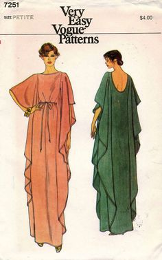 Very Easy Vogue Misses Caftan. Very loose-fitting, pullover, evening length caftan has front oval and back scooped neckline, side front and side Vogue Sewing Patterns, Vintage Sewing Patterns, Clothing Patterns, Dress Patterns, Vintage Vogue, Moda Vintage, Vintage Fashion, Kaftan Pattern, Pattern Draping