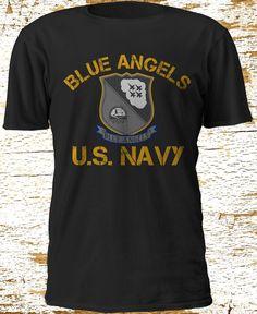 US NAVY SEAL BLUE ANGELS TOP GUN HORNET DESIGN BLOCK T-shirt camiseta S-3XL #Gildan #BasicTee