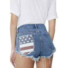 Blue American Flag Denim Shorts ($32) ❤ liked on Polyvore featuring shorts, ripped jean shorts, distressed jean shorts, jean shorts, distressed denim shorts and blue denim shorts