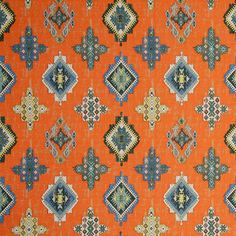 Blue Orange Woven Ikat Tapestry Upholstery Fabric   Heavyweight Medallion  Fabric For Furniture   Modern Blue