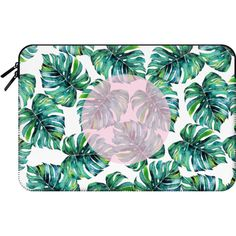 Macbook Sleeve - Monstera + Pastel Pink Macbook Case (£45) ❤ liked on Polyvore featuring accessories, tech accessories and macbook sleeve
