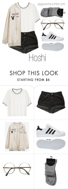 """Park Date // Hoshi"" by suga-infires ❤ liked on Polyvore featuring Monki, Levi's and adidas"