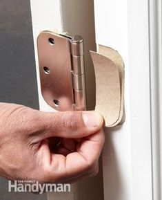 Use cardboard shims in the bottom hinges to help fix a sagging or sticking door. Use cardboard shims in the bottom hinges to help fix a sagging or sticking door. Use cardboard shims in the bottom hinges to help fix a sagging or sticking door. Home Improvement Projects, Home Projects, Home Maintenance Checklist, Handyman Projects, Home Fix, Diy Home Repair, Assemblage, Home Repairs, Home Remodeling