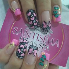 #Decoración de uñas #Brigith Salazar Fancy Nail Art, Fancy Nails, Love Nails, Pretty Nails, My Nails, Iris Nails, Super Cute Nails, Finger, French Tip Nails