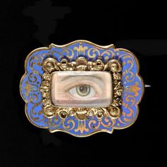 Brooch in rolled gold with enamel decorations Miniature lovers eye handpainted on ivory Georgian, ca. England In the and early century lovers gave each other jewels. Antique Jewelry, Vintage Jewelry, Victorian Jewelry, Birmingham Museum Of Art, Eye Images, Lovers Eyes, Miniature Portraits, Mourning Jewelry, Eye Jewelry