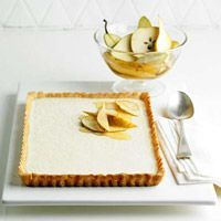 Vanilla Tart with Nutmeg Crust and Spiced Pears---- Looks yummy Pour creamy vanilla custard over a tender cookie crust and top with brandy-soaked pears for an elegant dessert. Vanilla Desserts, Just Desserts, Delicious Desserts, Dessert Recipes, Yummy Food, Elegant Desserts, Sweet Pie, Sweet Tarts, Spiced Pear