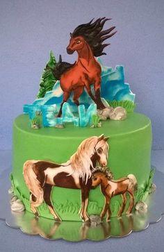 Nice looking cake! Horse Birthday Parties, Cowgirl Birthday, Birthday Cake Girls, Beautiful Cakes, Amazing Cakes, Cake Paris, Western Cakes, Farm Cake, Horse Cake