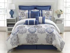 elegant blue bedding | Details about 9 Piece Queen Kasbah Blue and Gray Comforter Set