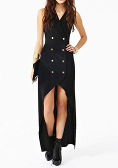 Vintage Halter Sleeveless Backless Double-Breasted High-Low Hem Dress For Women