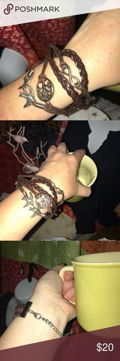 Bird-Tree of Life-Infinity Boho Bracelet Boho Birds/Tree of Life/Infinity brown leather-look Bracelet. Etsy Jewelry Bracelets