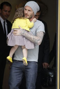 David Beckham with his daughter Harper in Paris.