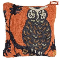 Halloween Hoot Owl Pillow Hand Hooked Wool