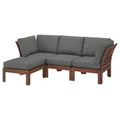 IKEA - ÄPPLARÖ, Modular corner sofa outdoor, brown stained, Frösön/Duvholmen dark grey, By combining different seating sections you can create a sofa in a shape and size that perfectly suits your outdoor space. Only recommended for outdoor use. Outdoor Cushions, Cushions On Sofa, Outdoor Sofa, Outdoor Furniture, Garden Furniture, Acacia, Ikea Bank, Modular Corner Sofa, Modul Sofa