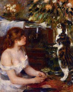Girl and Cat - Renoir Pierre-Auguste Pierre Auguste Renoir, Girl And Cat, She And Her Cat, August Renoir, Renoir Paintings, Cat Paintings, Impressionist Artists, Guache, Manet