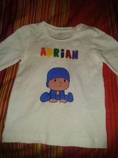 Camiseta  Niños Pocoyo Pintado a mano T-Shirt Kids Pocoyo Handpinted http://creacionzgz.blogspot.com.es/