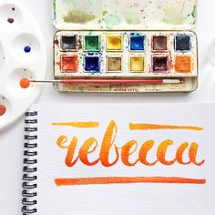 Hi I'm Rebecca a graphic designer, new to the Instagram brush lettering community and having a little bit too much fun!! #handletteredNAMES #brushlettering #ombre #thedailytype #handmadefont #watercolourtype @rebeccafeinerdesign