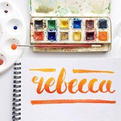 Hi I'm Rebecca a graphic designer, new to the Instagram brush lettering community and having a little bit too much fun!! #handletteredNAMES #brushlettering #ombre #thedailytype #handmadefont #watercolourtype @rebeccafeinerdesign