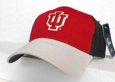 91027cd8d86 new htf INDIANA HOOSIERS HAT Gray-White-Red 3-tone Curved-Bill Cap  Mens Womens  SignaturesNCAA  IndianaHoosiers