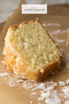 Grandma's Coconut Pound Cake + Contest EXTENSION!  Read more - http://www.stylemepretty.com/living/2013/08/07/grandmas-favourite-recipe-contest-extension/