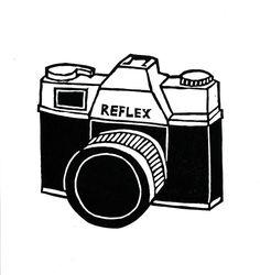 Retro camera lino print by ruthbroadway on Etsy