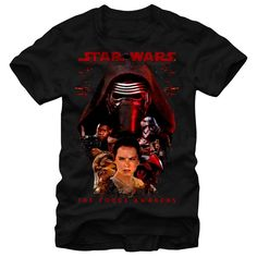Bring balance to the Force with the Star Wars Episode VII Kylo Ren and Rey Black T-Shirt. Star Wars The Force Awakens is  around Kylo Ren, Finn, Chewbacca, Rey, Captain Phasma, and Poe Dameron on the front of this awesome black tee.