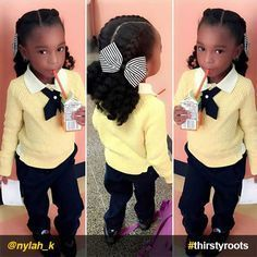 20 Cute Natural Hairstyles for Little Girls From pony puffs to decked out cornrow designs to braided styles, natural hairstyles for little girls can be the cutest added bonus to their precious little faces. Lil Girl Hairstyles, Natural Hairstyles For Kids, Braided Hairstyles, Black Hairstyles, French Hairstyles, Hairstyles Pictures, Black Children Hairstyles, 1920s Hairstyles, Drawing Hairstyles