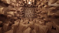 Zimoun : 317 prepared dc-motors, paper bags, shipping container on Vimeo Paper Installation, Sound Installation, Interactive Installation, Interactive Design, Art Installations, Motor Dc, Sound Sculpture, Take Out Containers, Cardboard Sculpture