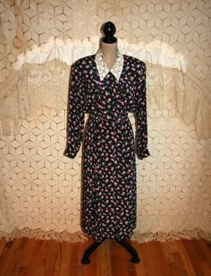 90s Rayon Dress Long Sleeve Floral Grunge Button by MagpieandOtis