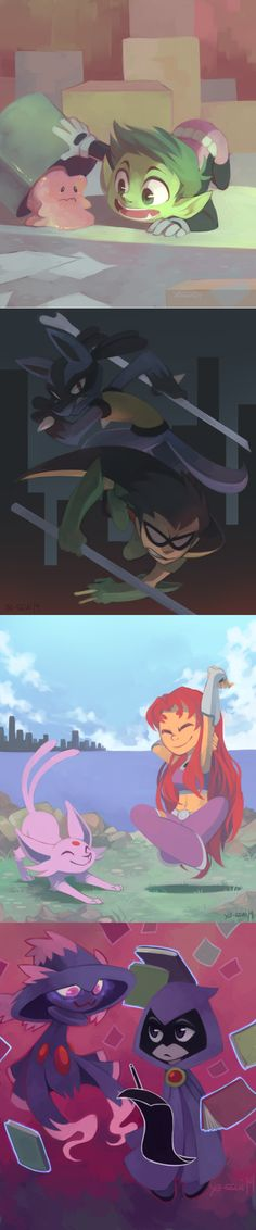 Teen Titans and Pokemon crossover! I love the pokemon chosen, but where is Cyborg? Pikachu, Pokemon Memes, Pokemon Go, Pokemon Stuff, Teen Titans Go, Teen Titans Funny, Beast Boy, Fandoms, Catch Em All